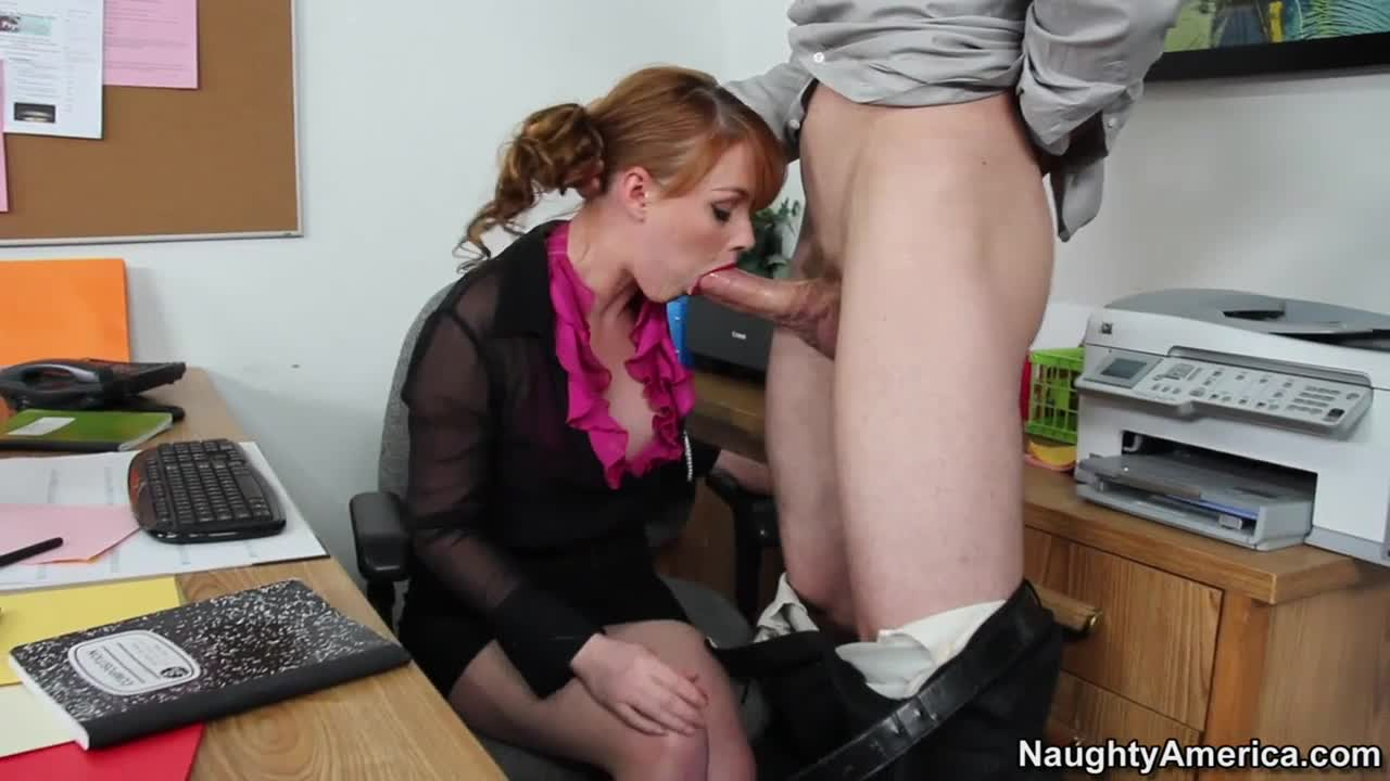Marie McCray - Sweet Redhead Secretary Takes Fat Cock In Gentle Mouth