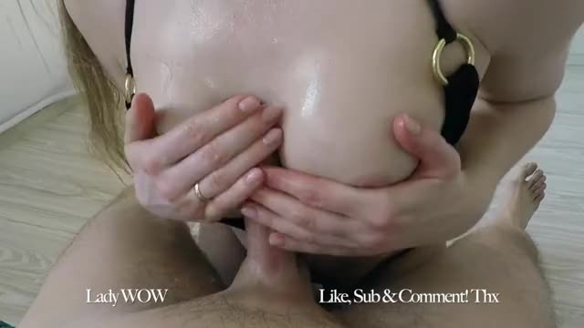 thick ejaculation on an oily titjob
