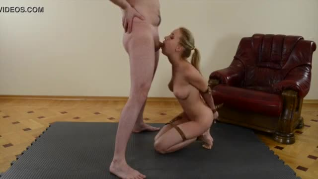 chick gives oral sex and swallows cum whilst fastened up