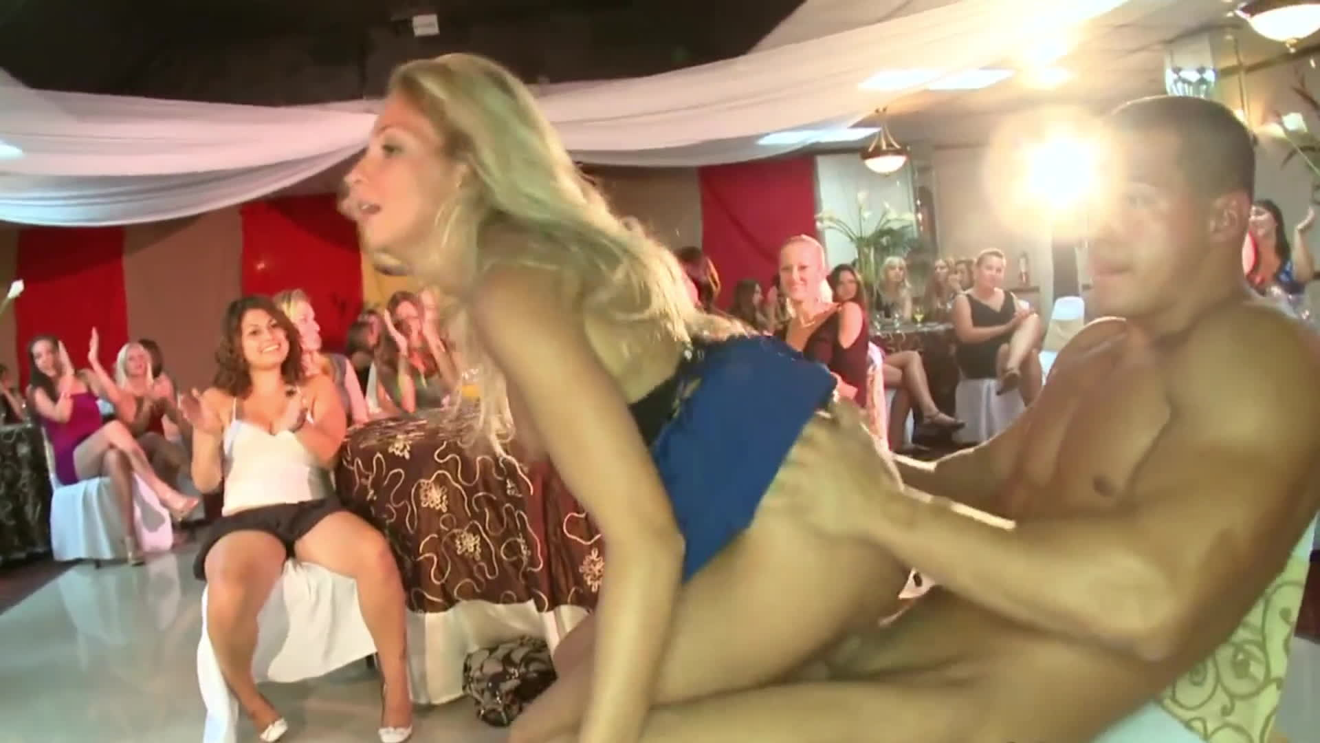 Cute blonde having sex in front of audience