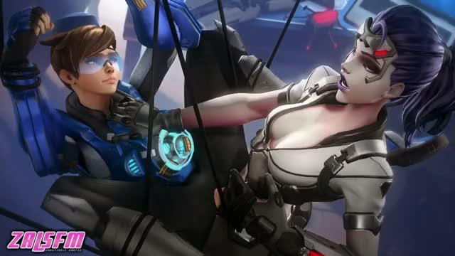 Tracer caught in Widowmaker's web and gets fucked