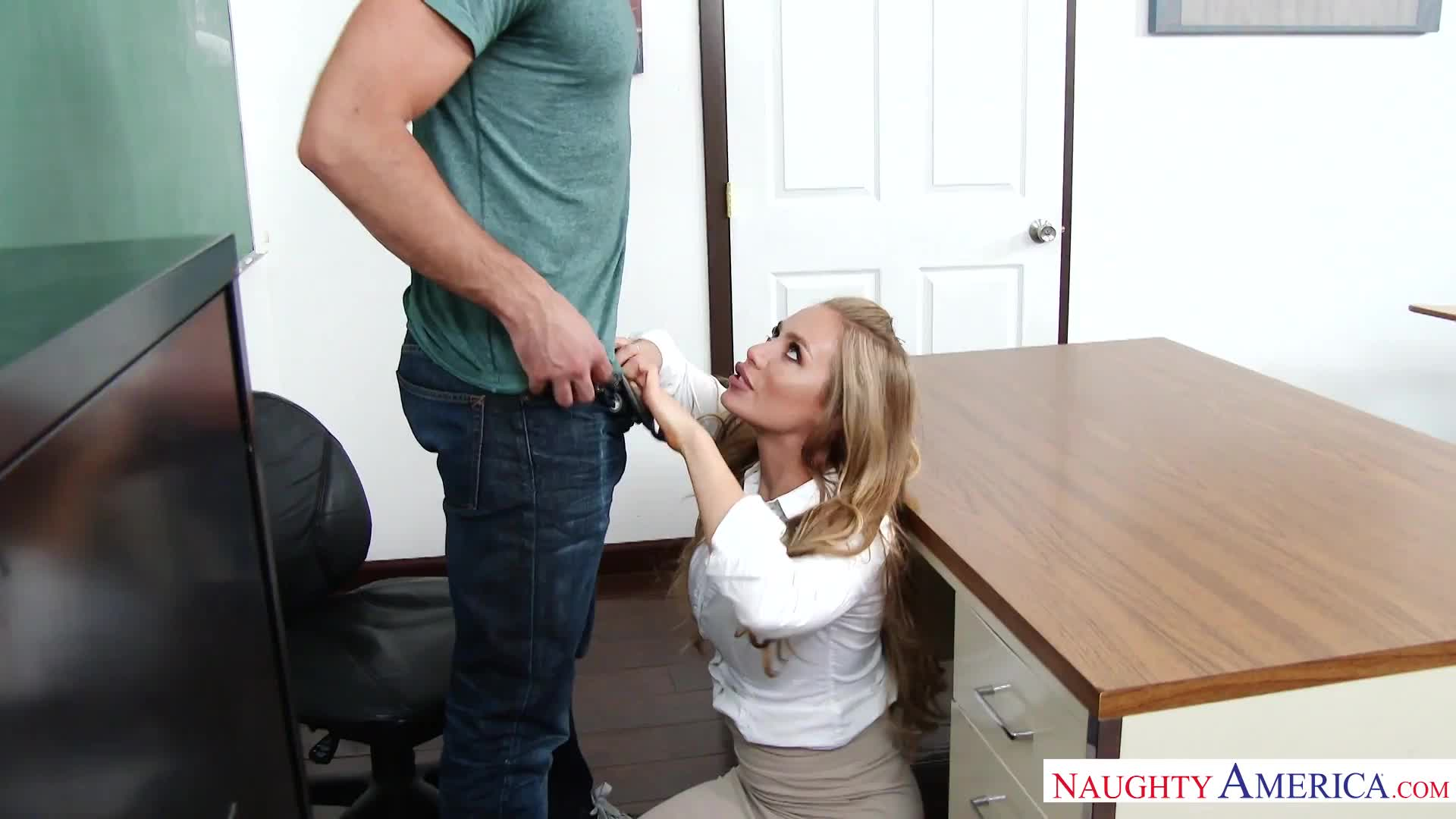 Professor Aniston blows a student after class