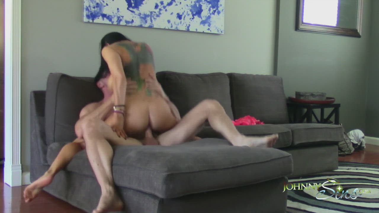 Romi shows us her tattoo while riding a big dick