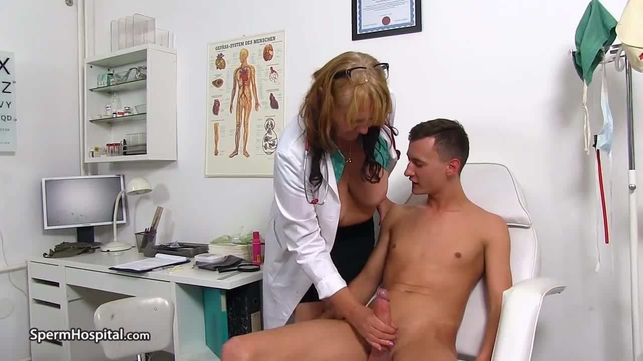 old nurse Glenda lets young patient examine her breasts