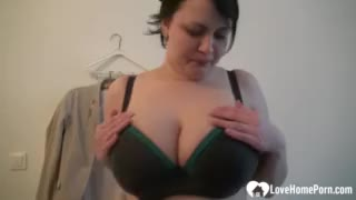 huge mounds chick uses a sex toy