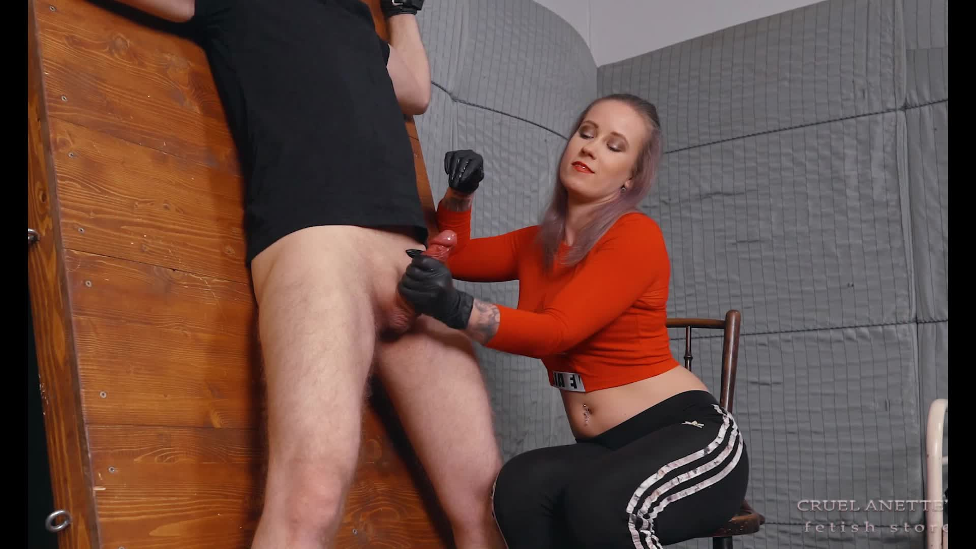 Huge Squirting - Cruel Anette's Fetish Store (captioned)