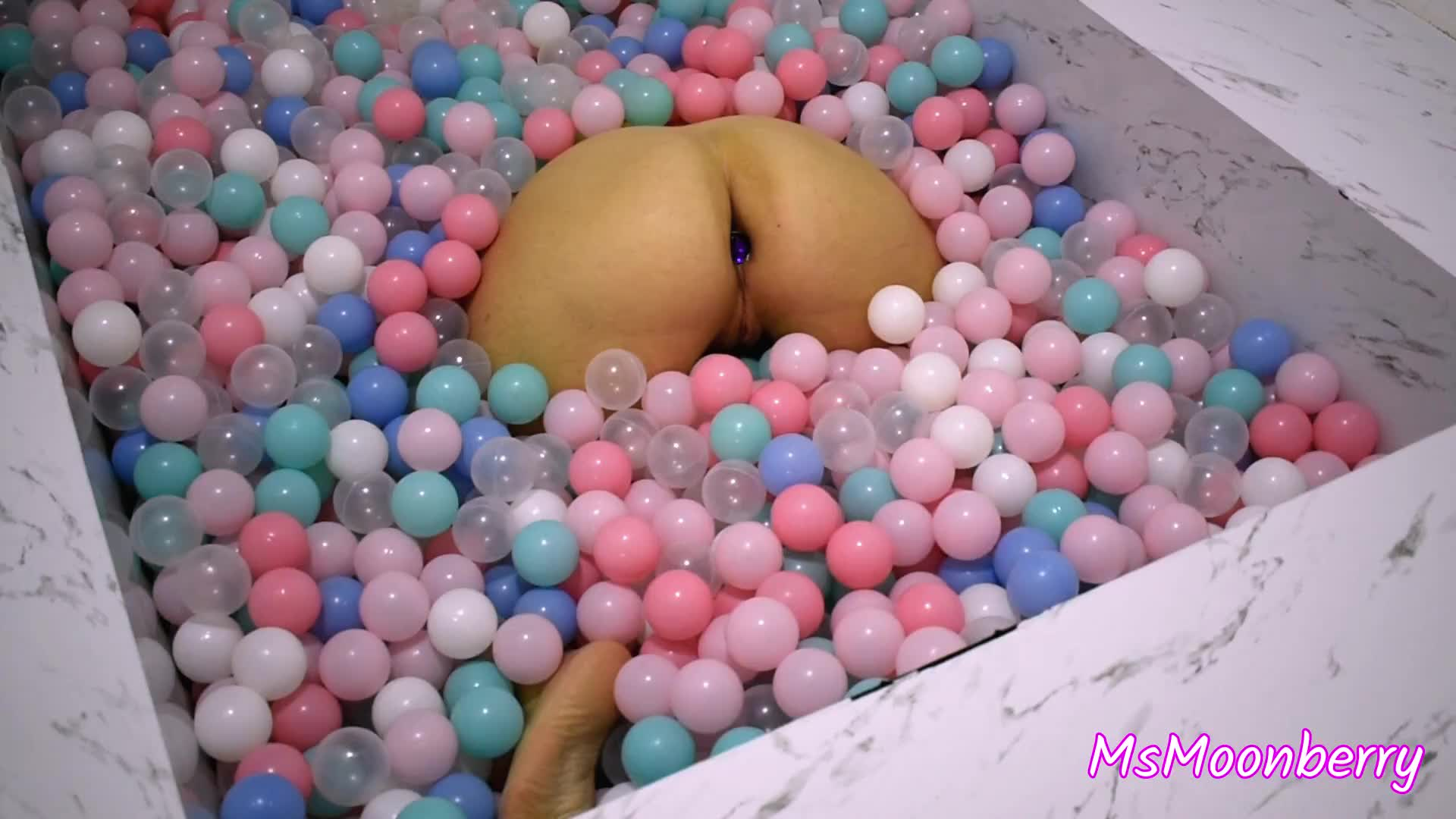 Bubble butt in the ball pit