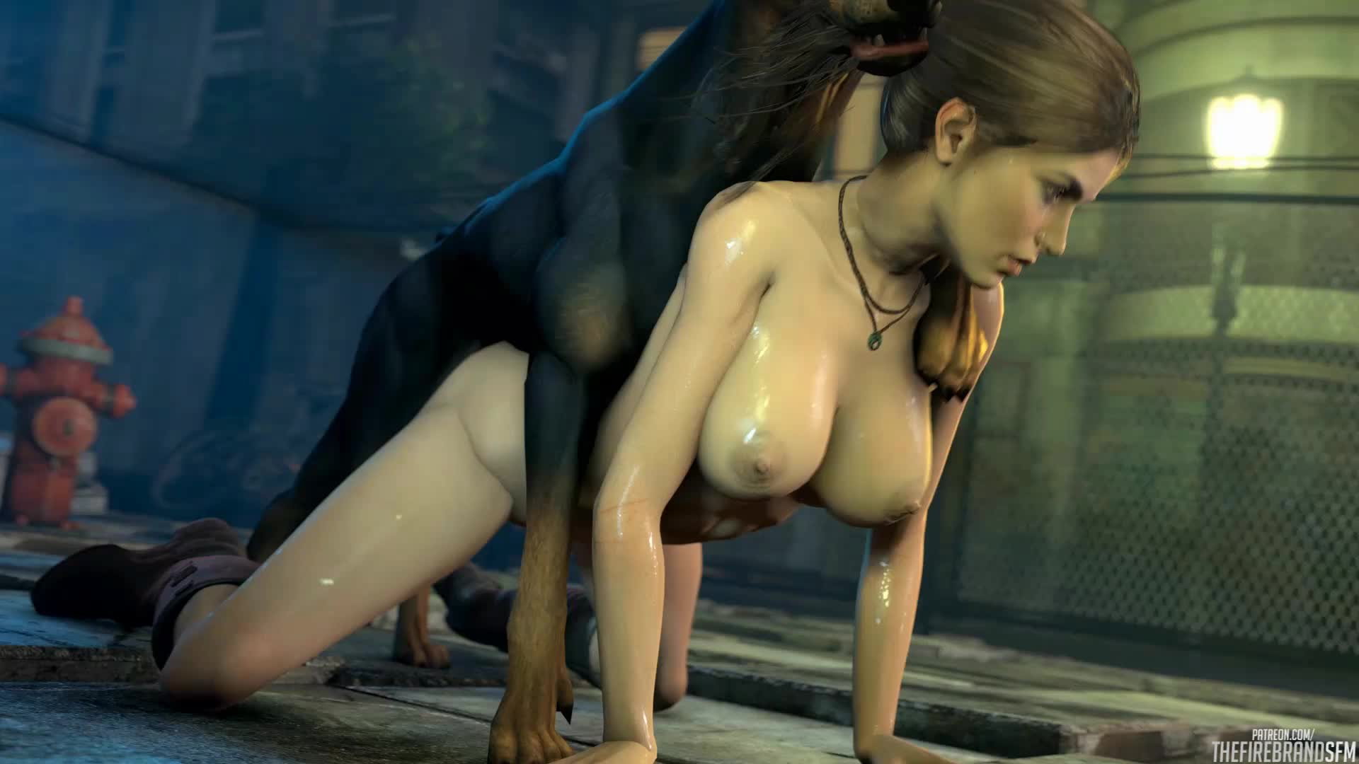 Lara with dog porn