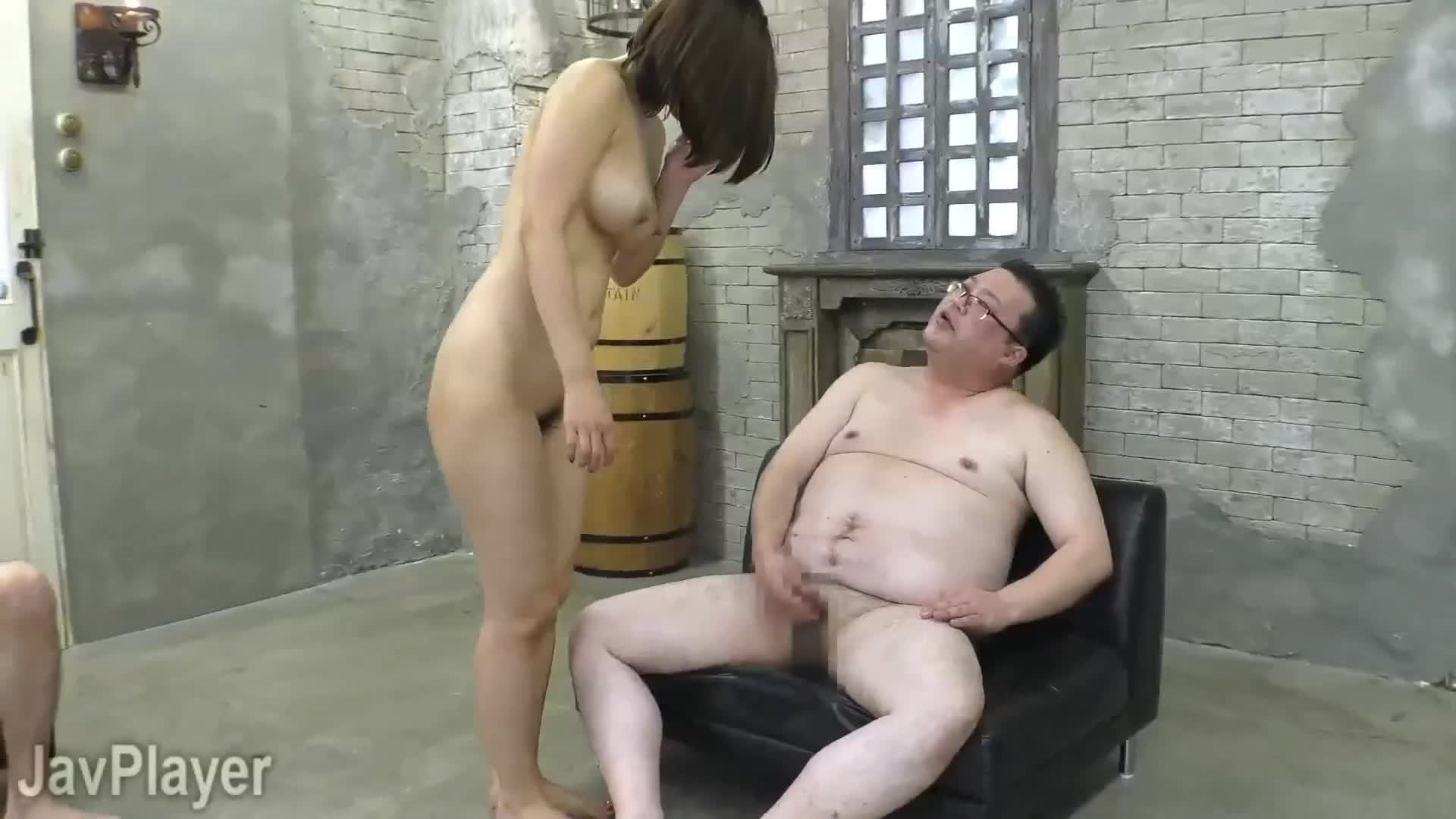 I'm not a Japanese language expert, but I think the man tells her that he fails to get hard in the first position and tells her to turn around, possibly to get closer penetration.