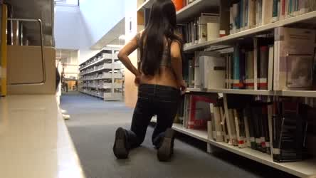 Flashing and fucking my pussy in public library