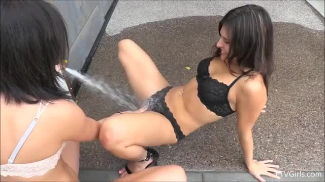 Leah Gotti Masturbating with Water Outdoors