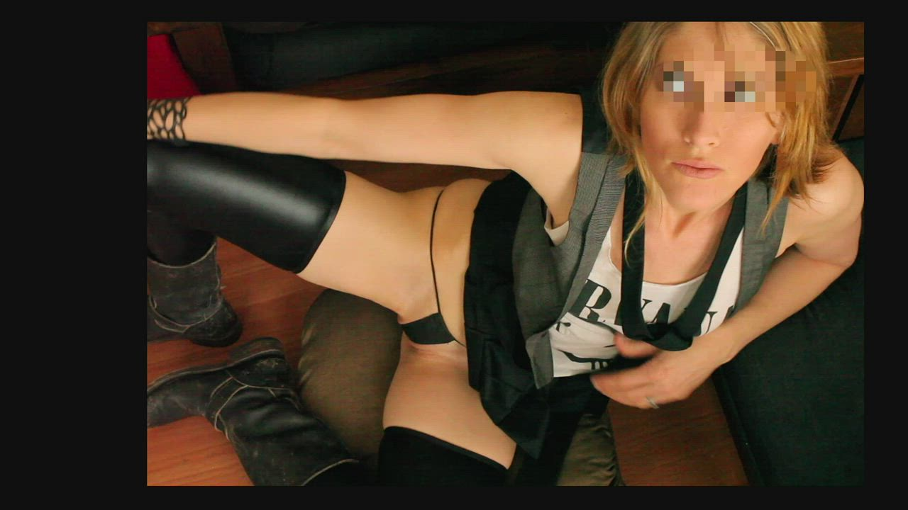 Leather micros and thigh highs for this wife.