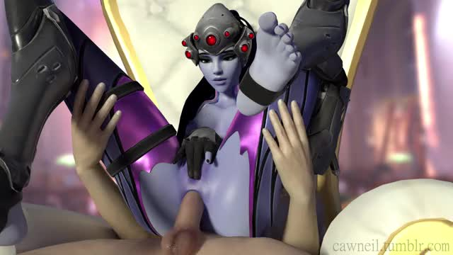 widowmaker rubbing herself during the time that getting her butt fucked