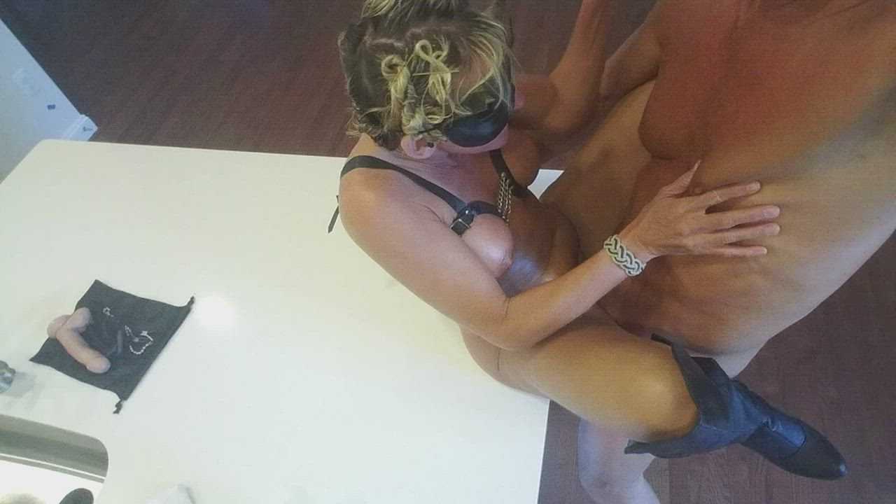 The Leather (barely there) Bikini [couple m55] ::::: Just the right height -- Cory's waves rolling as she uses her heels to pull me in deeper.
