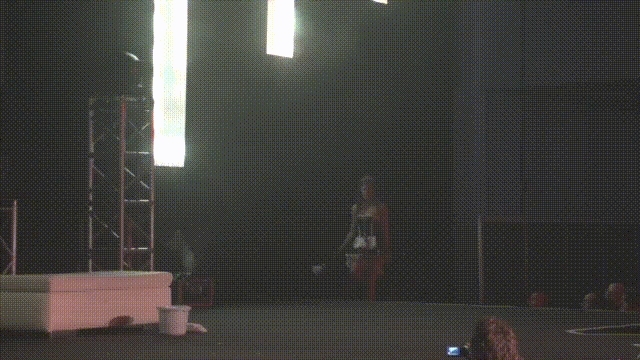 Caprice on-stage, French Maid Striptease