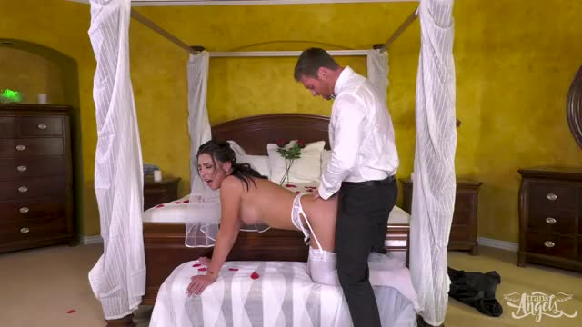 drilled in her wedding dress