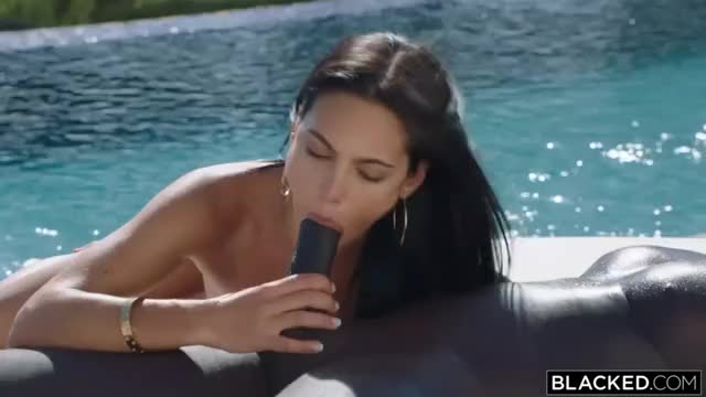 gorgeous petite latin chick fucked hard to the pool by a large ebony dick guy HD