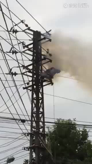 Watch Man being burned on power line tower GIF on Gfycat. Discover more related GIFs on Gfycat