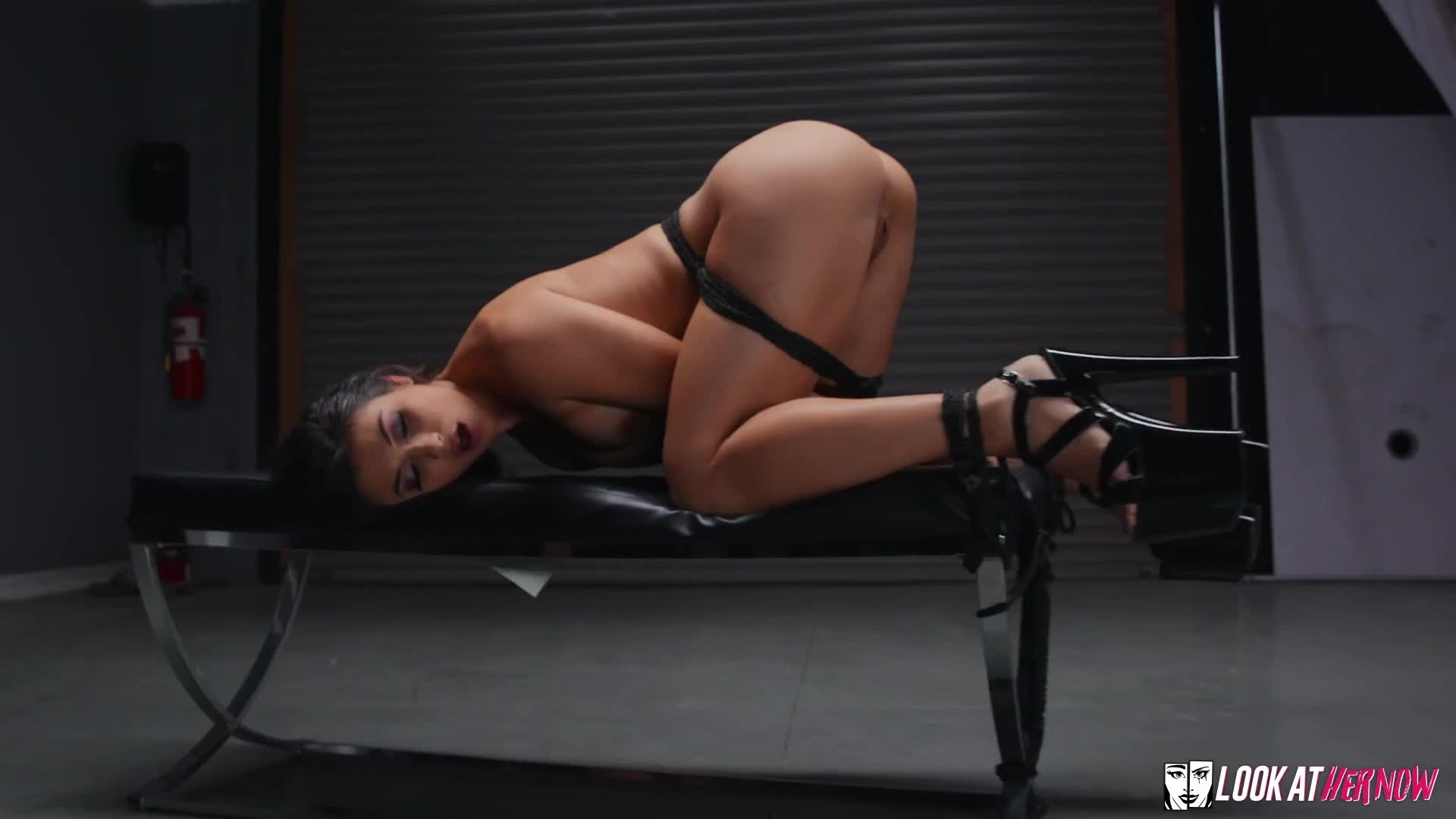 I'm not usually into bondage or stripper heels, but this is pretty sexy.
