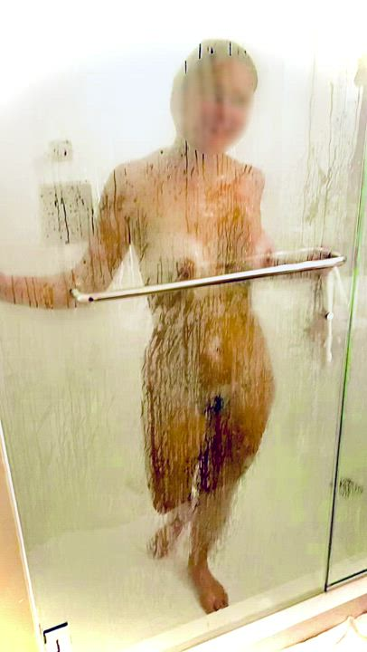 My wife playing in the shower