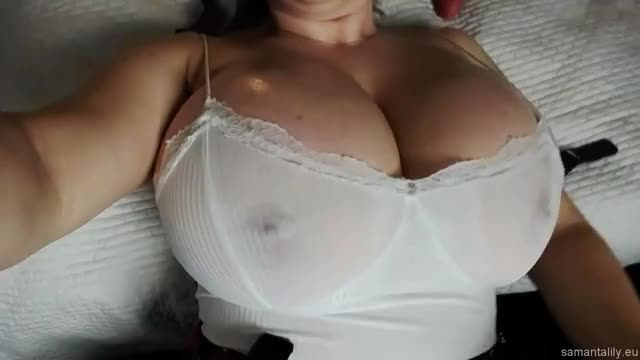 shining Up Her Large Breasts