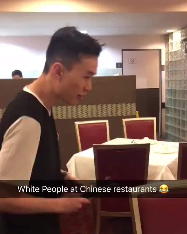 White people at Chinese restaurant GIFs