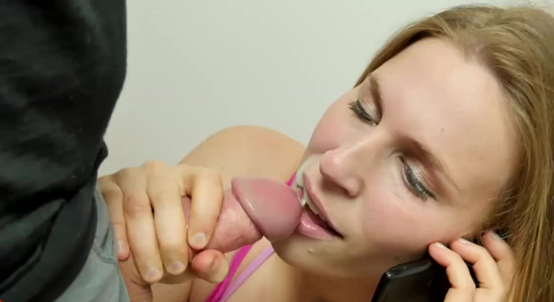 Sucking Cock While She Talking on The Phone