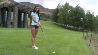 sweet Hotty Shows Her Butt on the Golf Course