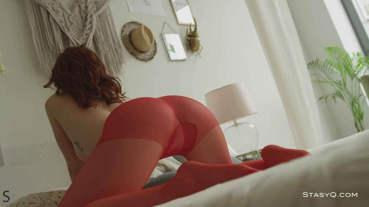 Red pantyhose on a redhead