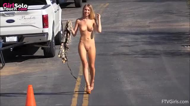 Beautiful Lady Naked on the road