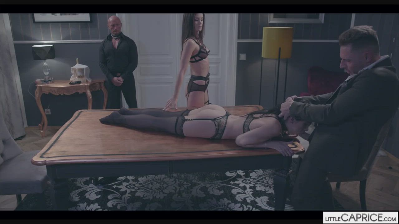 Clea Gaultier gets a little help from Little Caprice (with a belt)