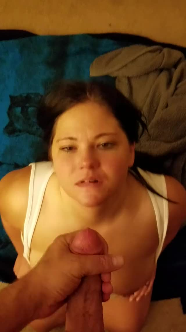 that babe smiles and sucks out each drop...what a cumslut!