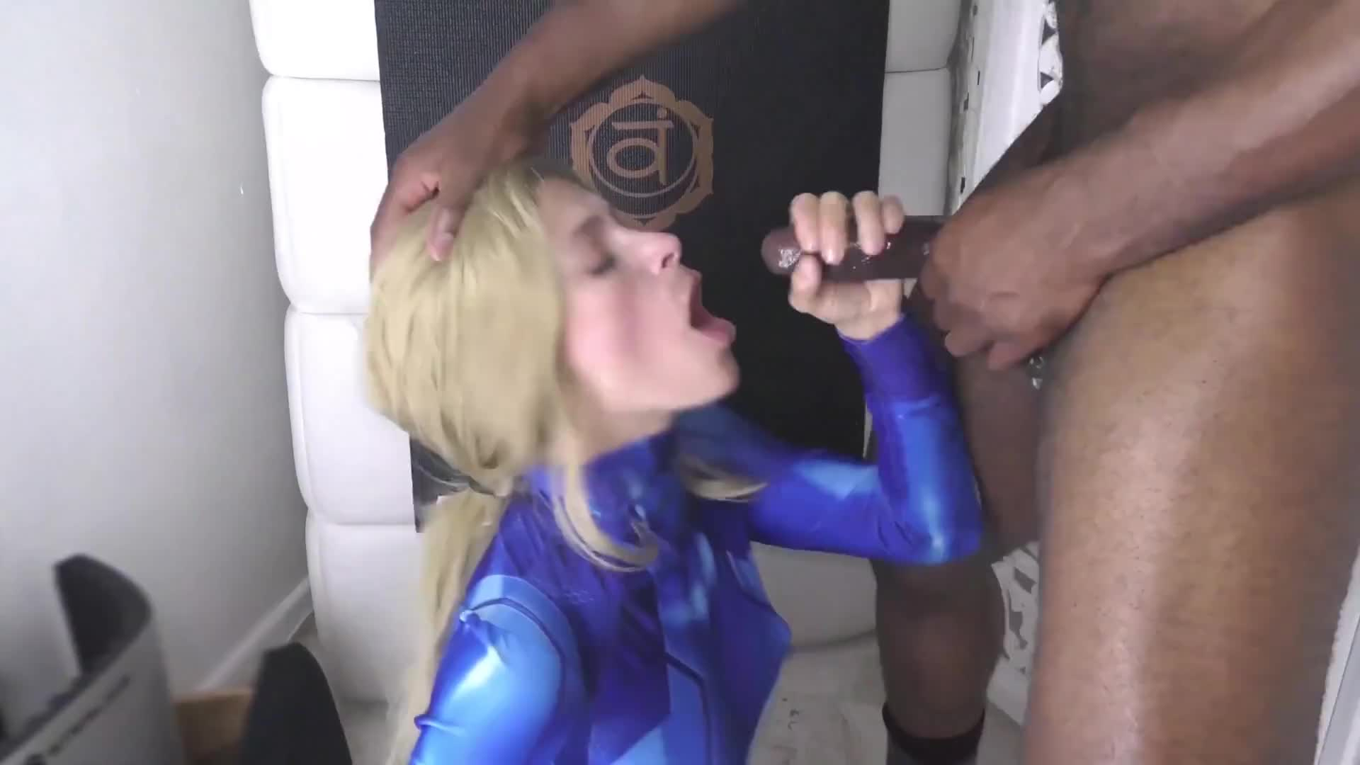 Pretty blonde gets a big jizz load on her face from black friend