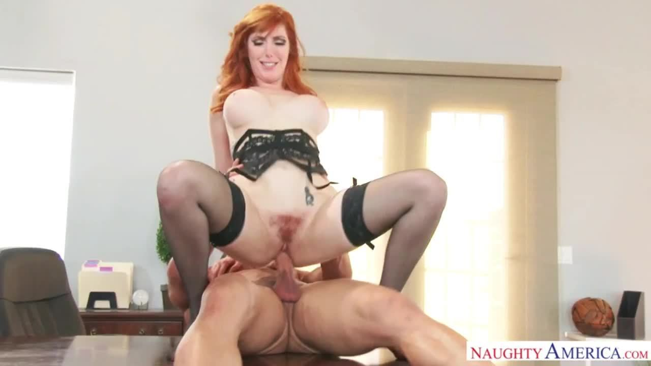 Lauren in black stockings gets a fucking on her office desk