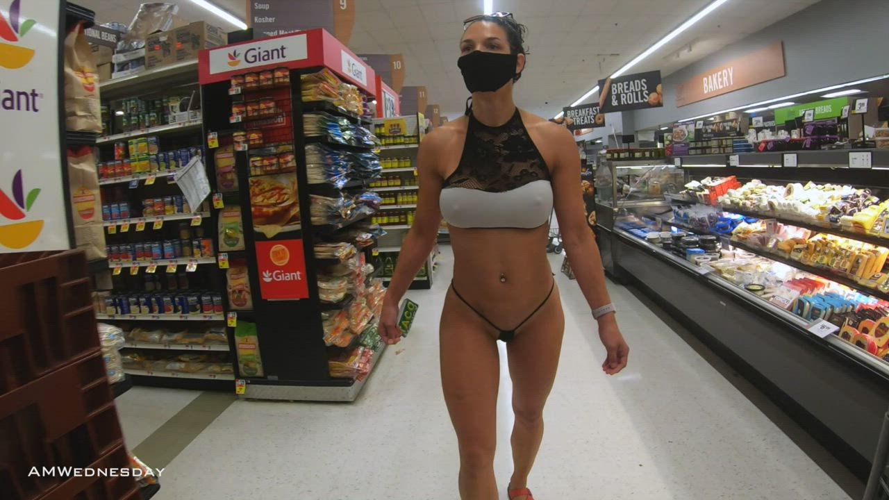 A bikini has a very different feel in a grocery store