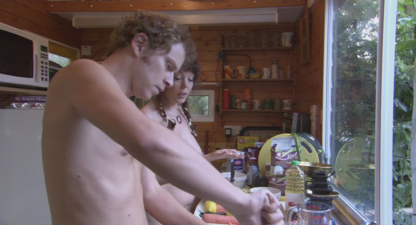 A naturist couple, Joanna & Michael (Olivia Colman & Robert Webb), intend to hold their wedding entirely naked - Confetti (UK2006) (2/2 - arguing in the kitchen)