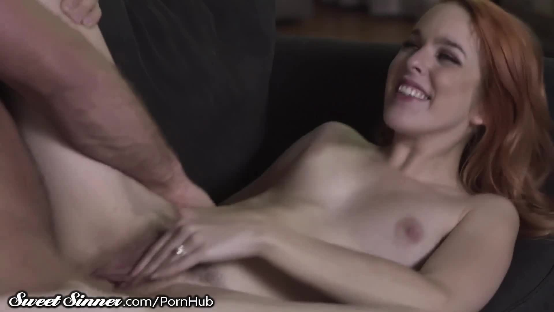 Wife watches her husband cum all over sexy redhead, Amarna Miller