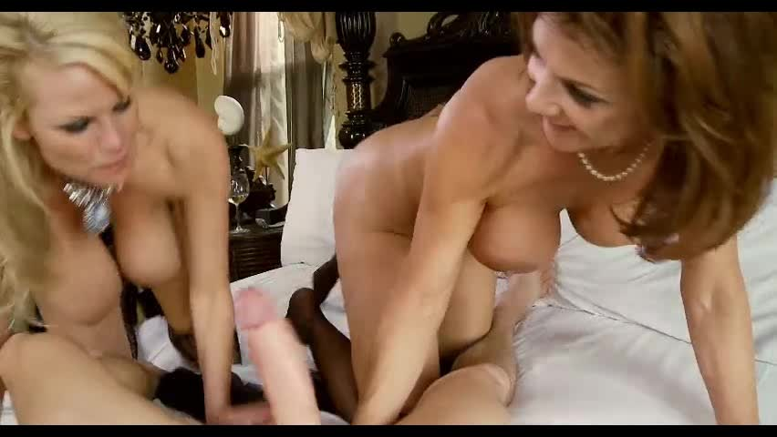 Two MILFs sharing a cock