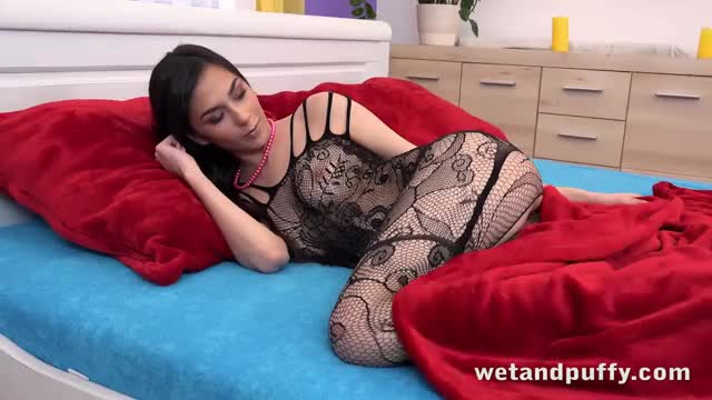 ashley Ocean masturbating and toying her twat to orgasm in a crotchless bodystocking