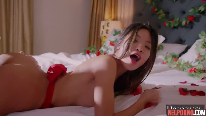 Beautiful Asian girl during sex gets a strong orgasm and much sperm