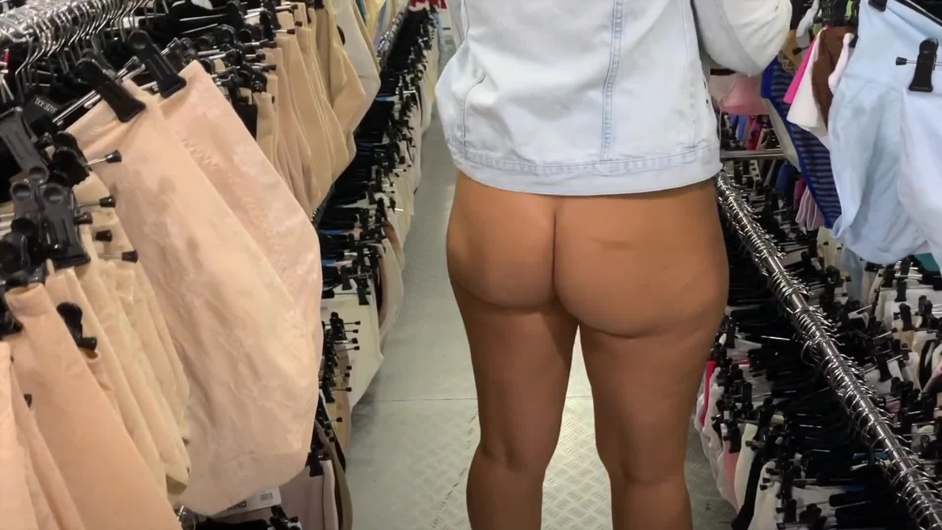 Why use bottoms at the store when you can wear nothing? [GIF]