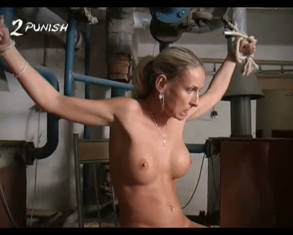 Blonde MILF With Nice Tits Gets Tied Up And Whipped