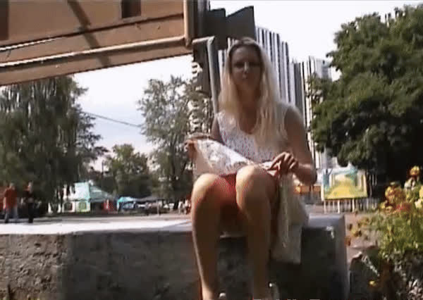 Sexy Blonde Teen Flashing In Public