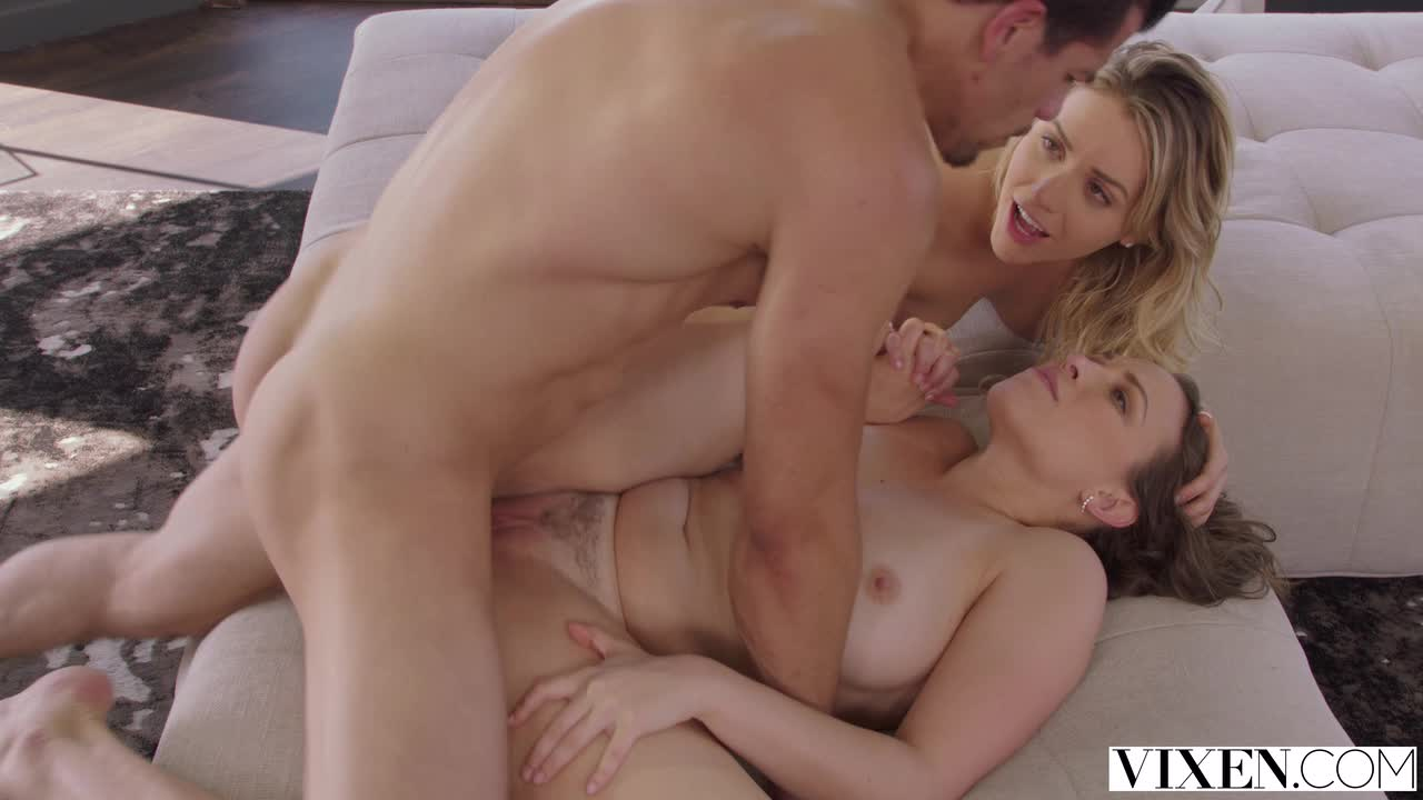Mia Malkova cleans up Lily Love before a kiss