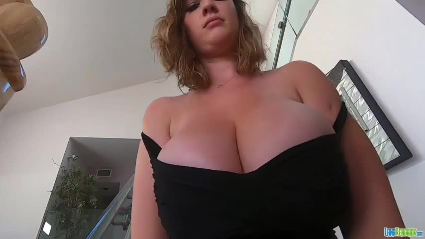 Lana bouncing and jiggling her tits and then has them oiled up