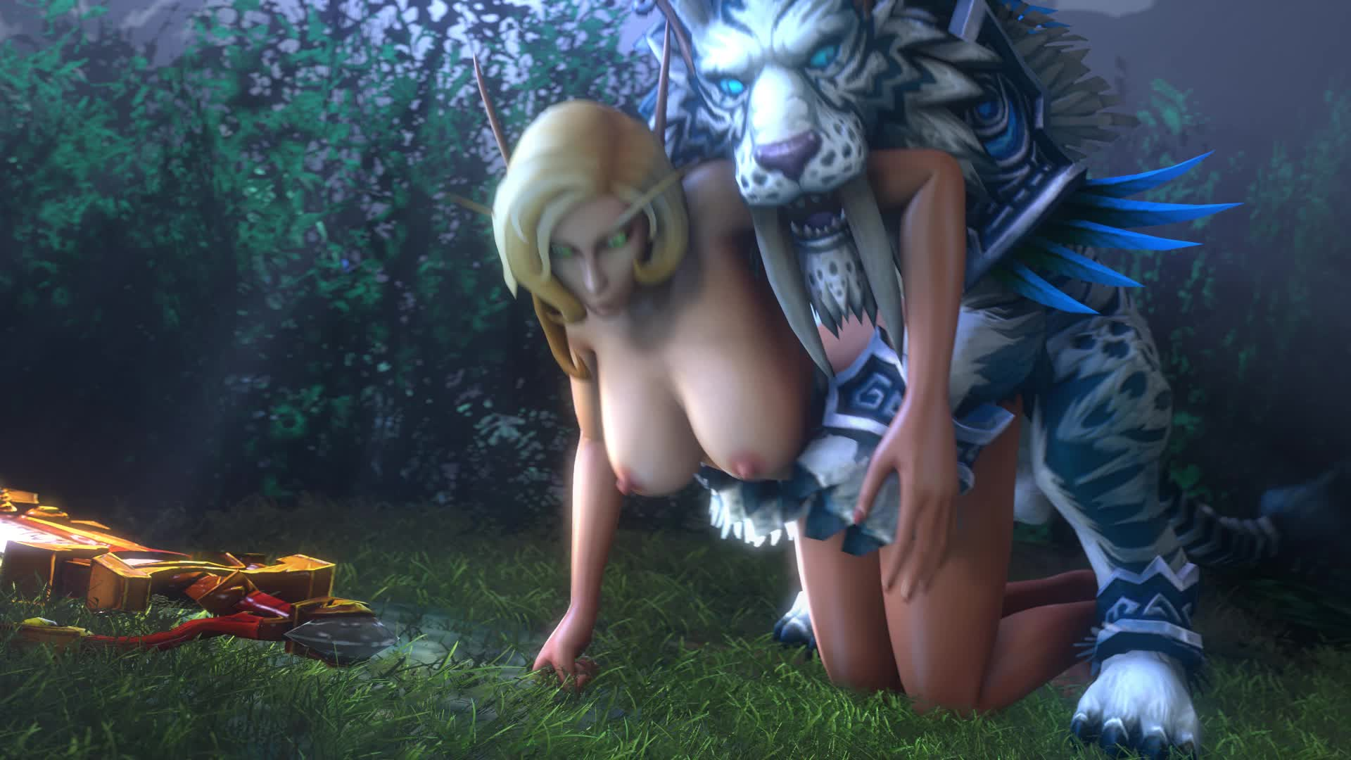 Warcraft blond girl fucks elf adult film