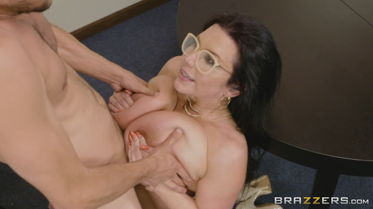 Thic librarian Sheridan Love titfucks him and makes him cum all over her giant tits