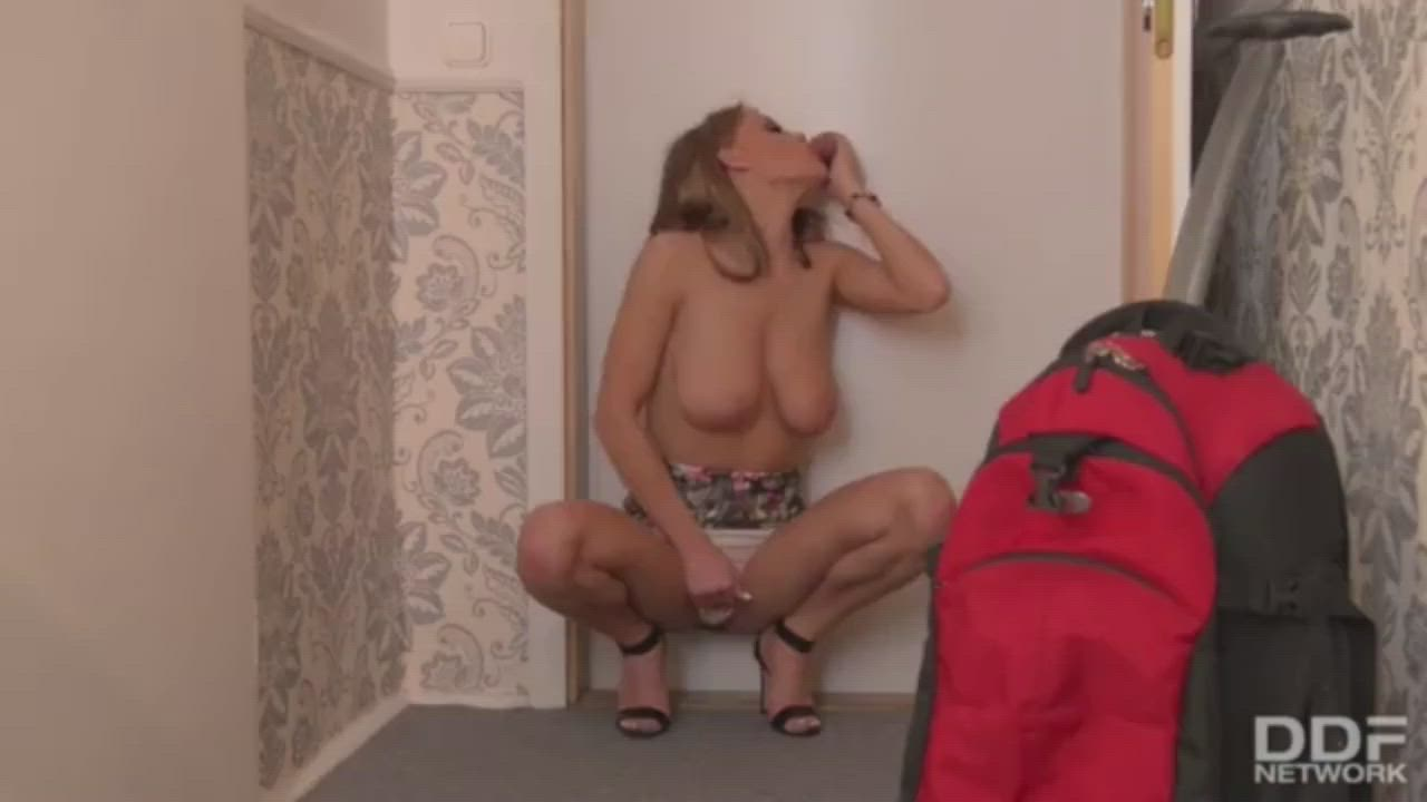 Blonde Homemade Gloryhole Sucks and Jerks Cock Until He Jizz's on Her Tits