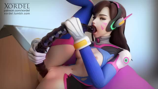 d.va double pumping herself with large sextoy