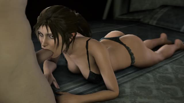 Lara Croft in lingerie being slowly face fucked